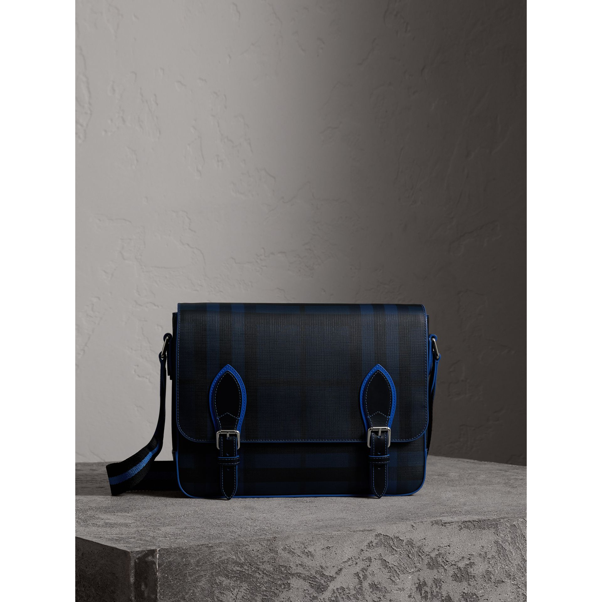 Medium Two-tone London Check Messenger Bag in Navy/blue - Men | Burberry - gallery image 0
