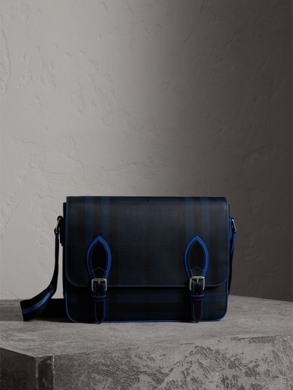 Medium Two-tone London Check Messenger Bag in Navy/blue