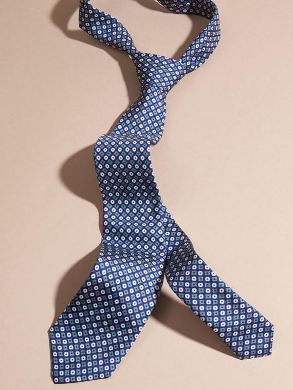 Cravatta dal taglio sottile in seta con stampa geometrica Verde Acqua