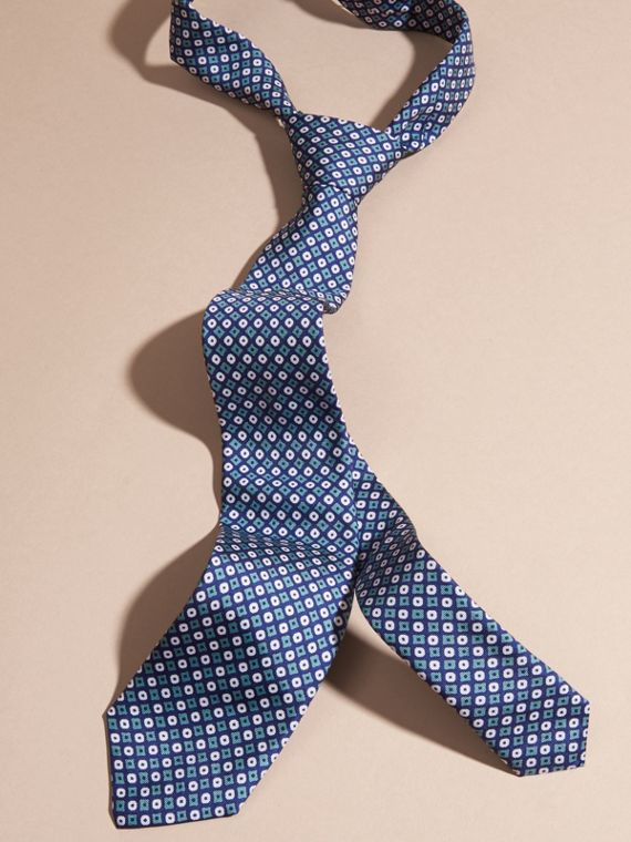 Corbata de pala estrecha en seda con motivo geométrico Verde Mar