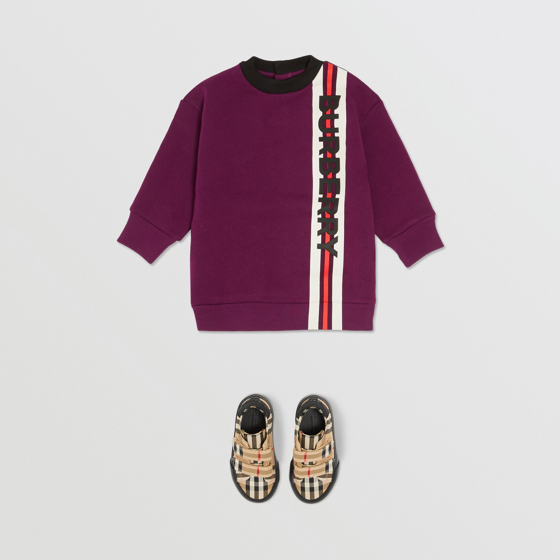 Logo Print Jersey Sweater Dress in Burgundy - Children | Burberry - gallery image 2