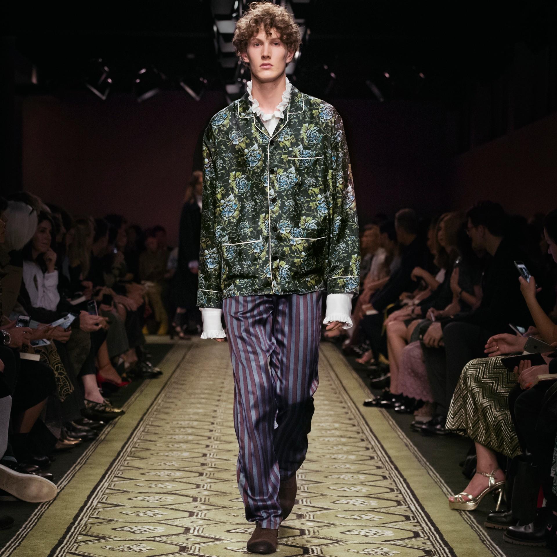 Peony Rose Silk Twill Pyjama-style Shirt - gallery image 8