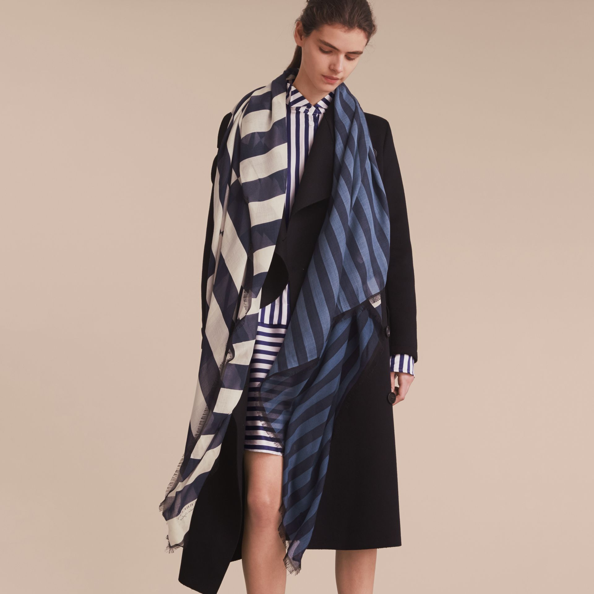 Contrast Stripe Cashmere Silk Scarf in Indigo | Burberry - gallery image 3