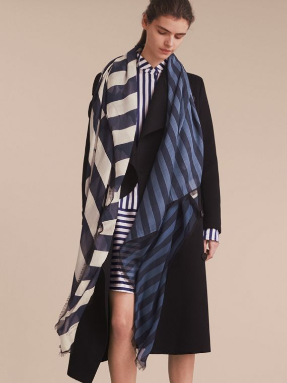 Contrast Stripe Cashmere Silk Scarf in Indigo | Burberry - cell image 2