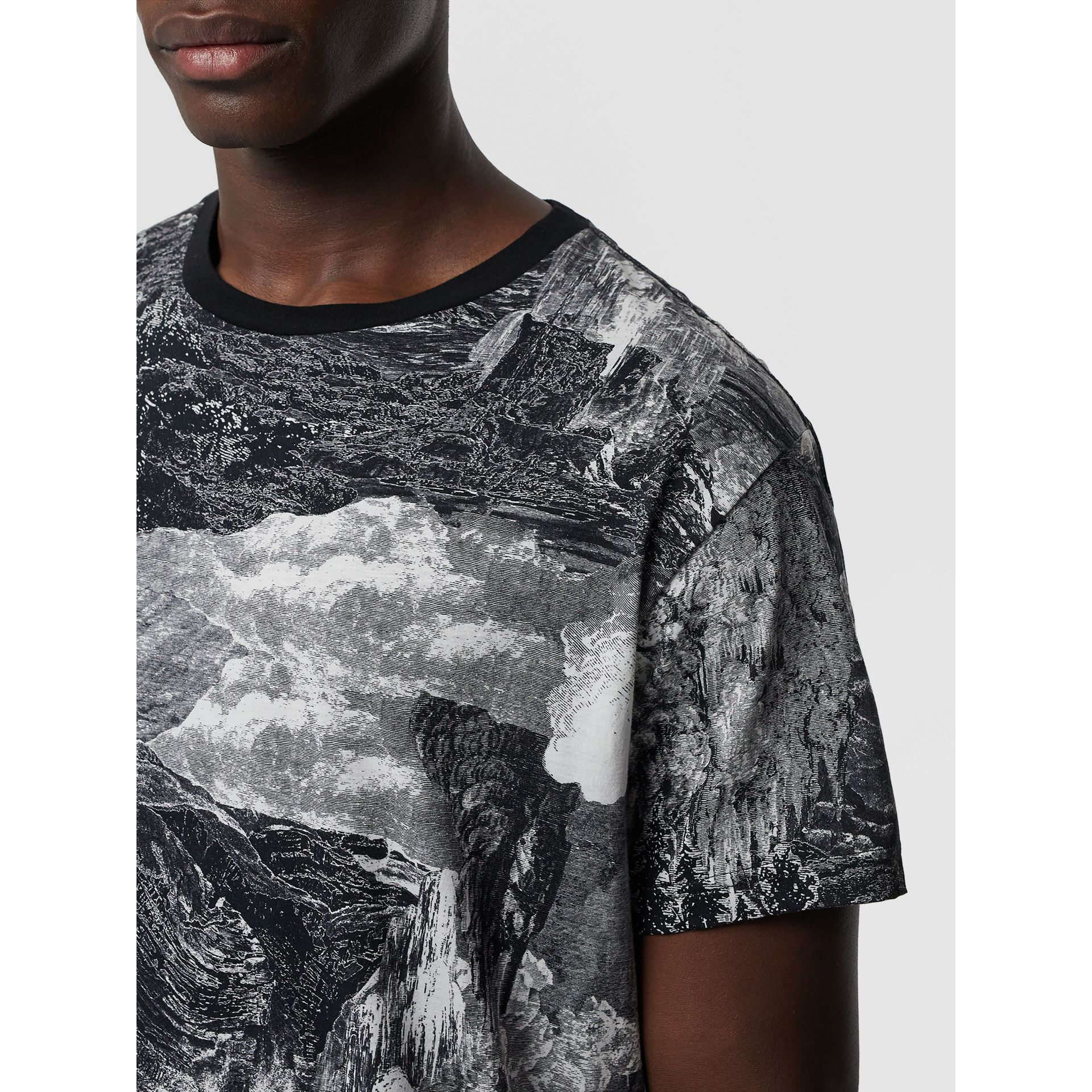 Dreamscape Print Cotton T-shirt in Black - Men | Burberry - gallery image 1