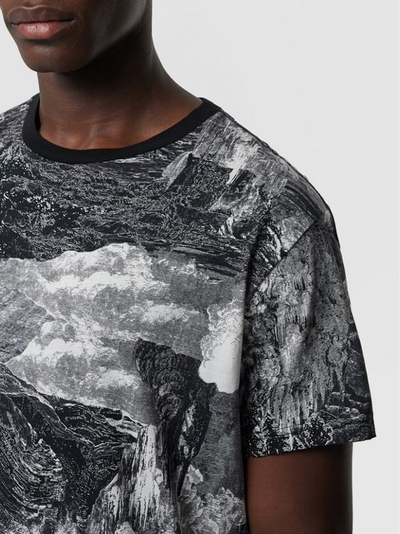 Dreamscape Print Cotton T-shirt in Black - Men | Burberry United Kingdom - cell image 1