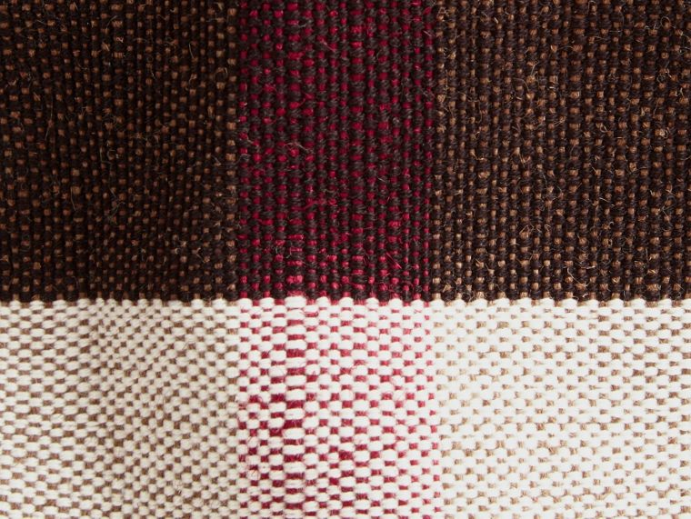 The Ashby media con pelle e motivo Canvas check (Rosso Cadmio) - Donna | Burberry - cell image 1