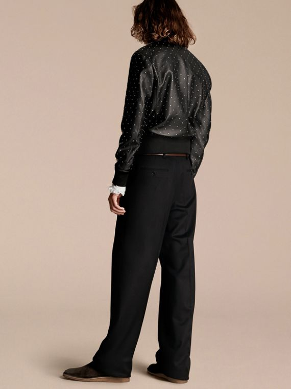 Black Riveted Plongé Lambskin Bomber Jacket - cell image 2