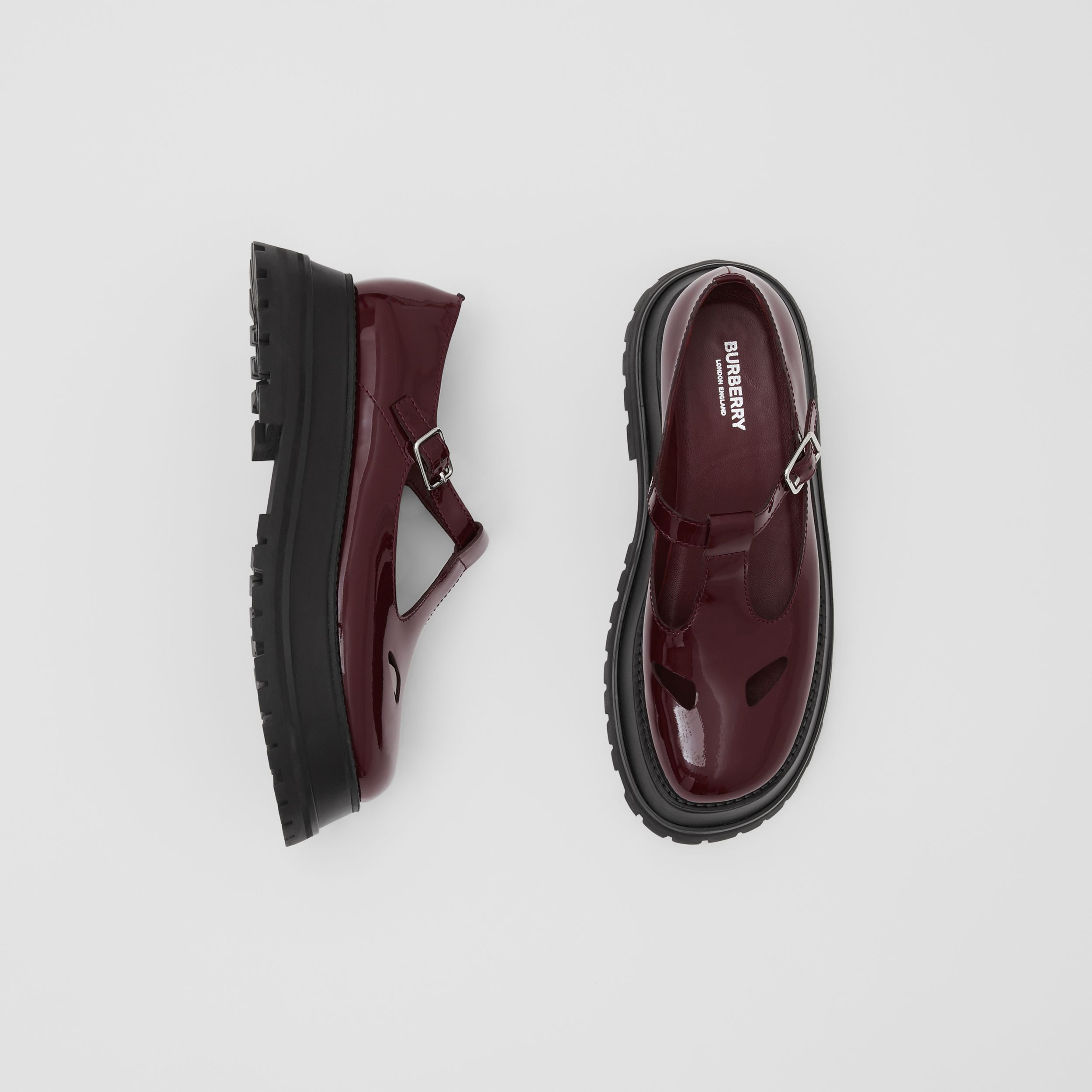 Patent Leather T-bar Shoes in Oxblood - Women | Burberry - 1