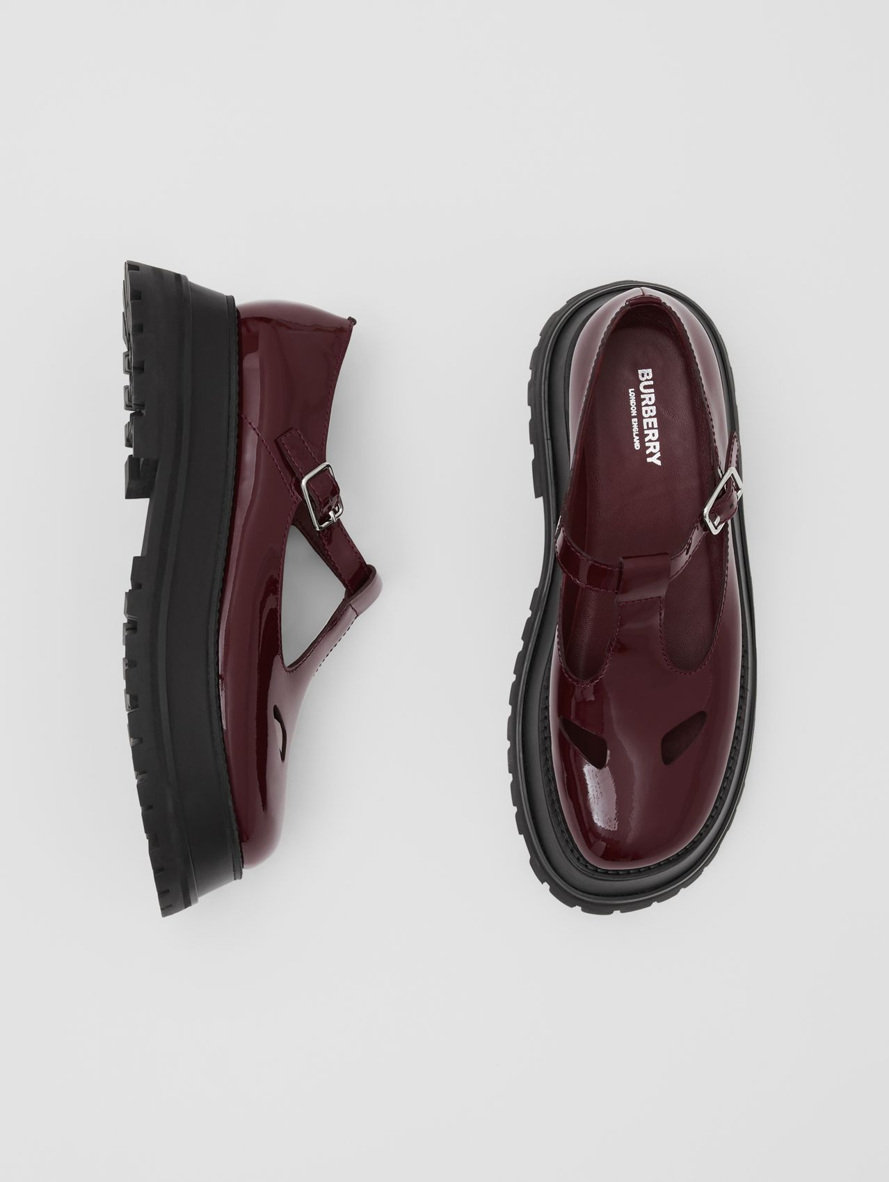 Patent Leather T-bar Shoes in Oxblood