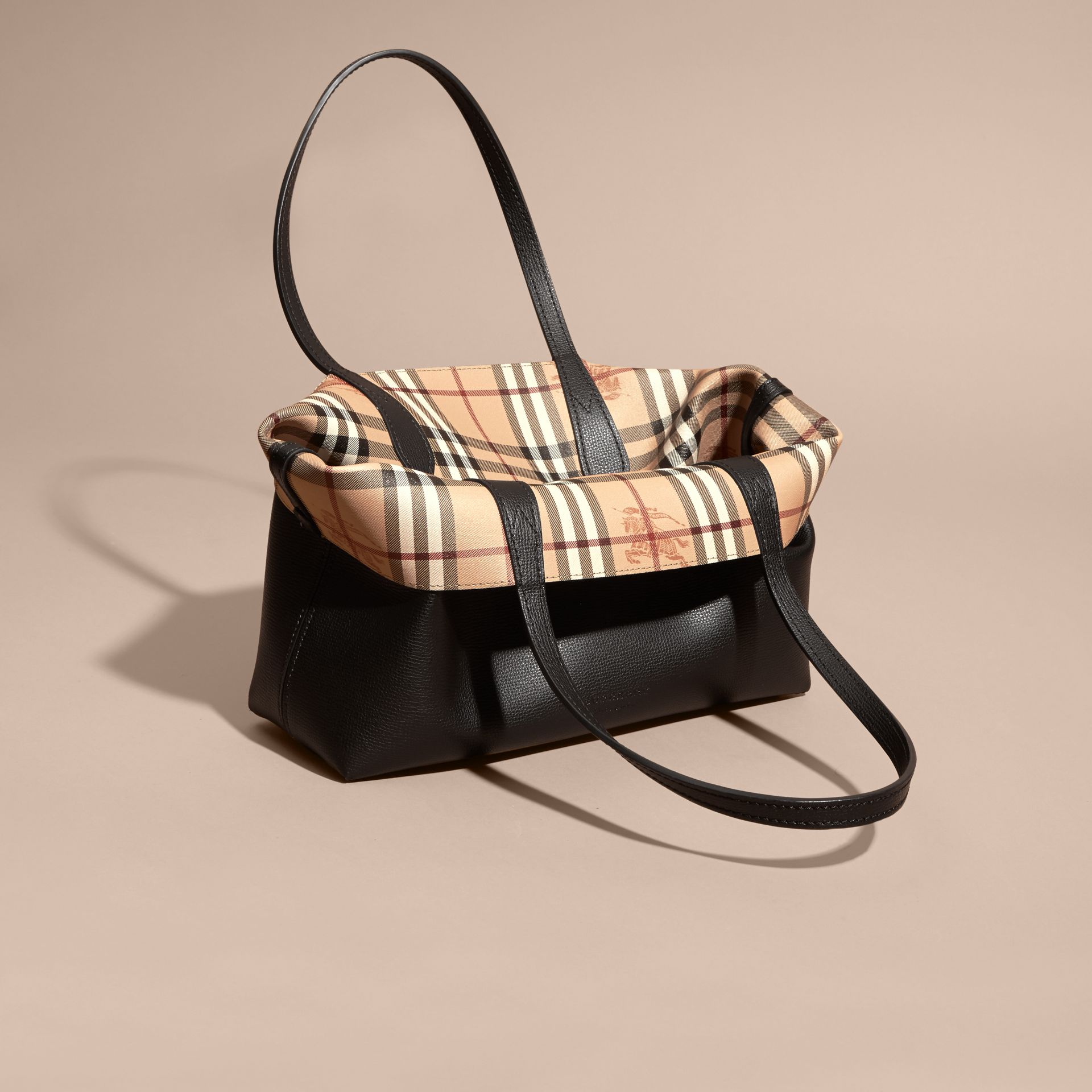 The Small Reversible Tote in Haymarket Check and Leather in Black - Women | Burberry - gallery image 5