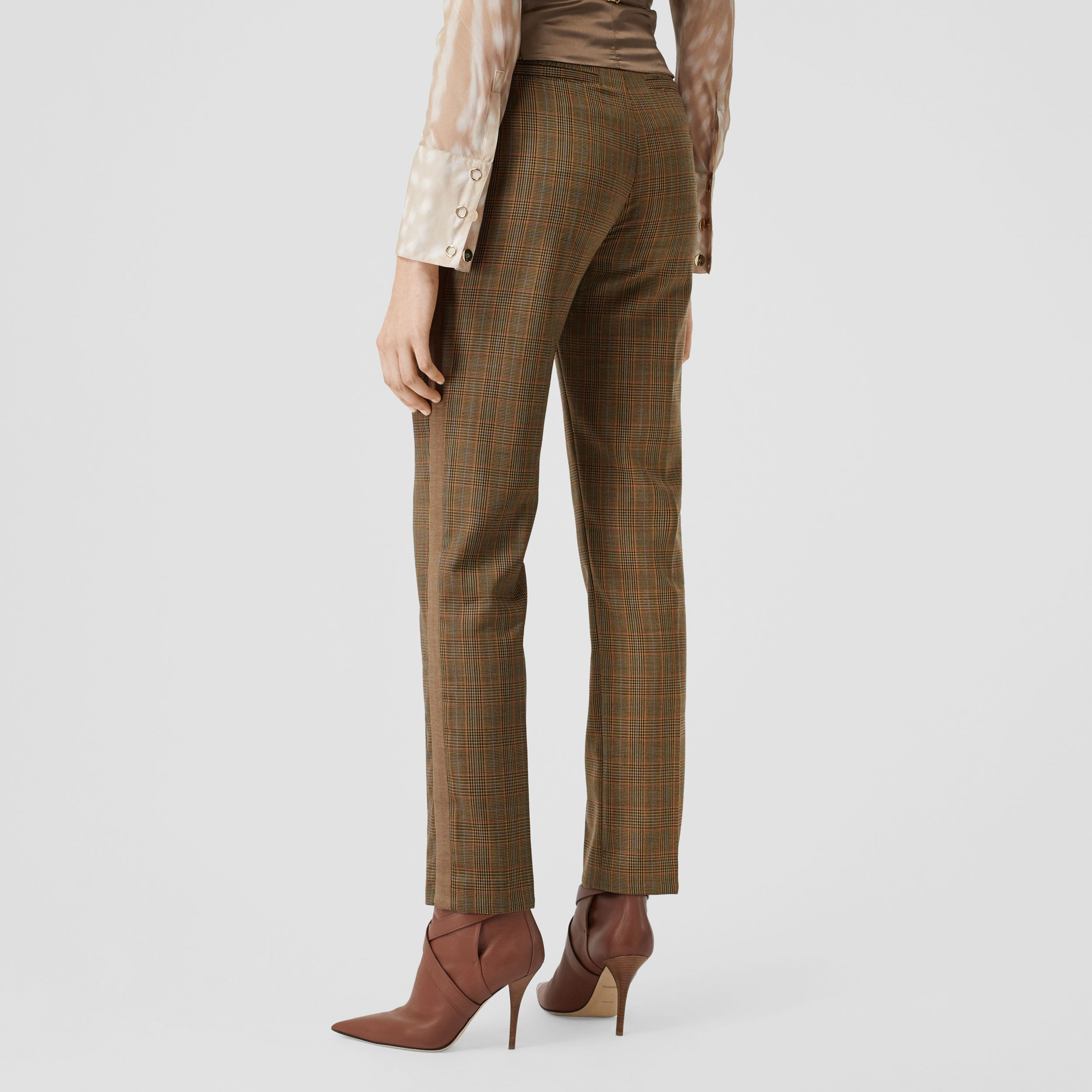 Side Stripe Houndstooth Check Wool Tailored Trousers in Fawn - Women | Burberry - 3