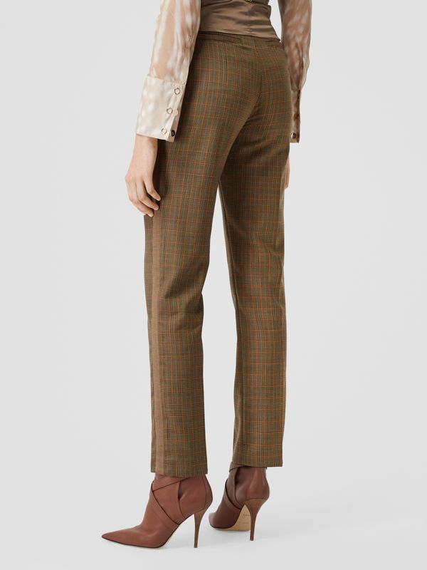 Side Stripe Houndstooth Check Wool Tailored Trousers in Fawn - Women | Burberry Hong Kong S.A.R - cell image 2