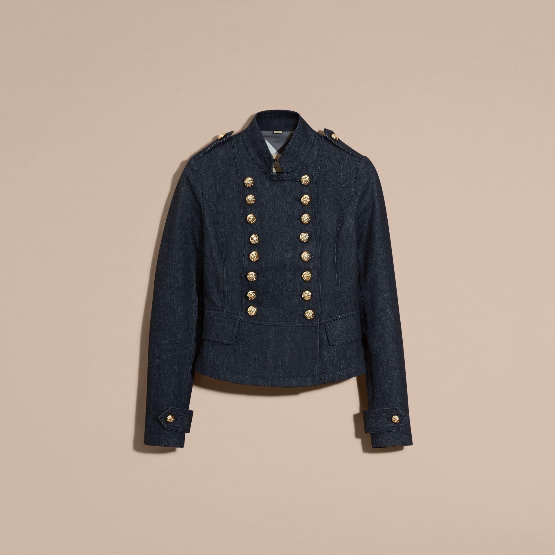 Indigo Stretch Denim Regimental Jacket - gallery image 4
