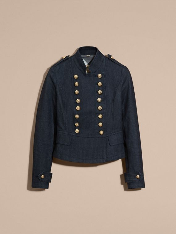 Indaco Giacca militare in denim stretch - cell image 3