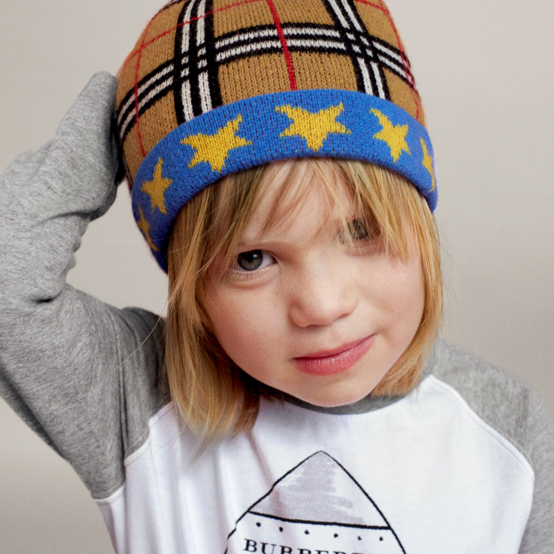Stars and Check Cashmere Turnback Beanie in Canvas Blue | Burberry United Kingdom - gallery image 1