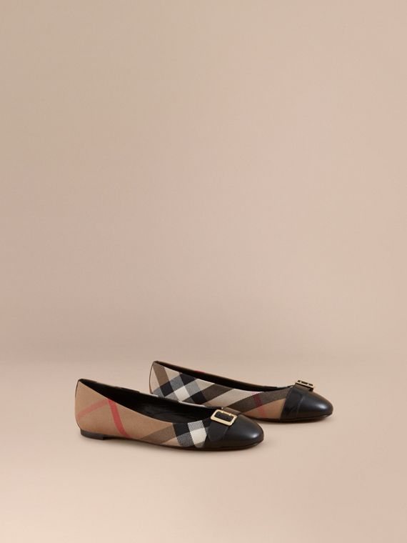 Buckle Detail House Check and Leather Ballerinas in Black