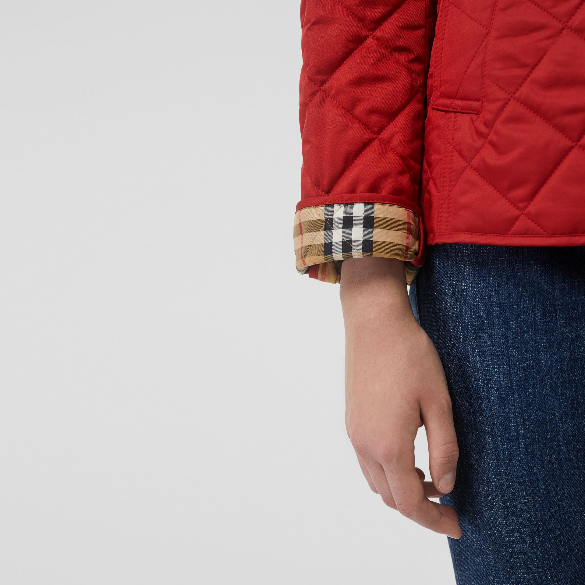 Diamond Quilted Jacket in Military Red - Women | Burberry United States - gallery image 3