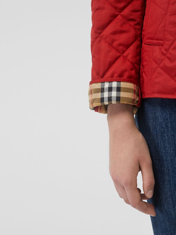 Diamond Quilted Jacket in Military Red - Women | Burberry United States - cell image 3