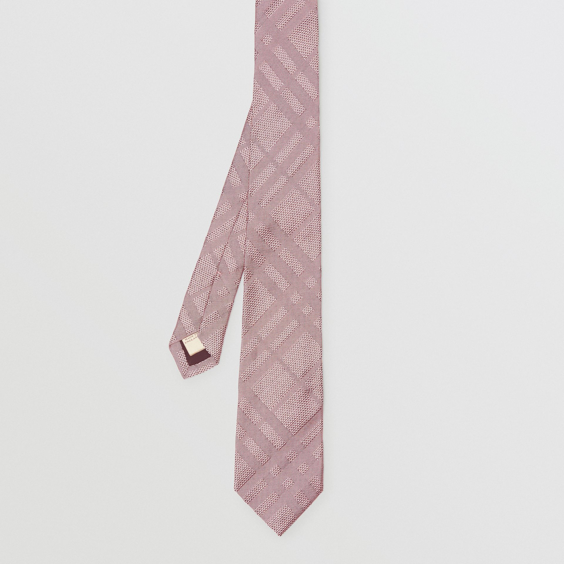 Modern Cut Check Silk Jacquard Tie in Alabaster Pink - Men | Burberry - gallery image 4