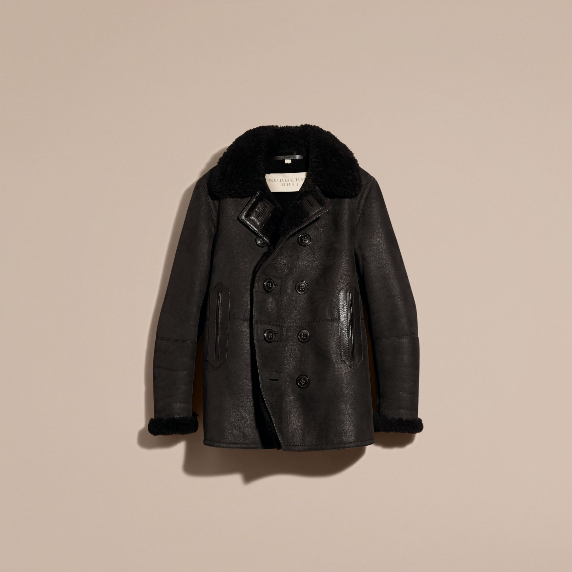 Black Shearling Pea Coat - gallery image 4