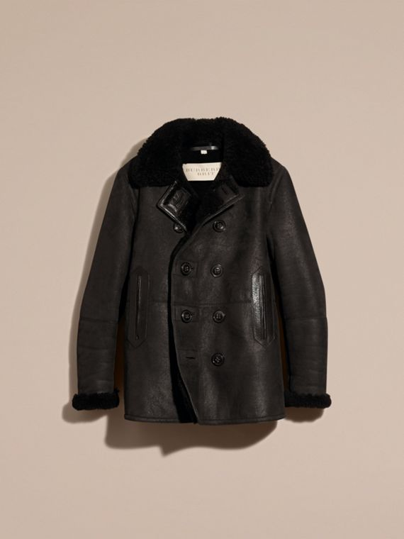 Nero Pea coat in shearling - cell image 3