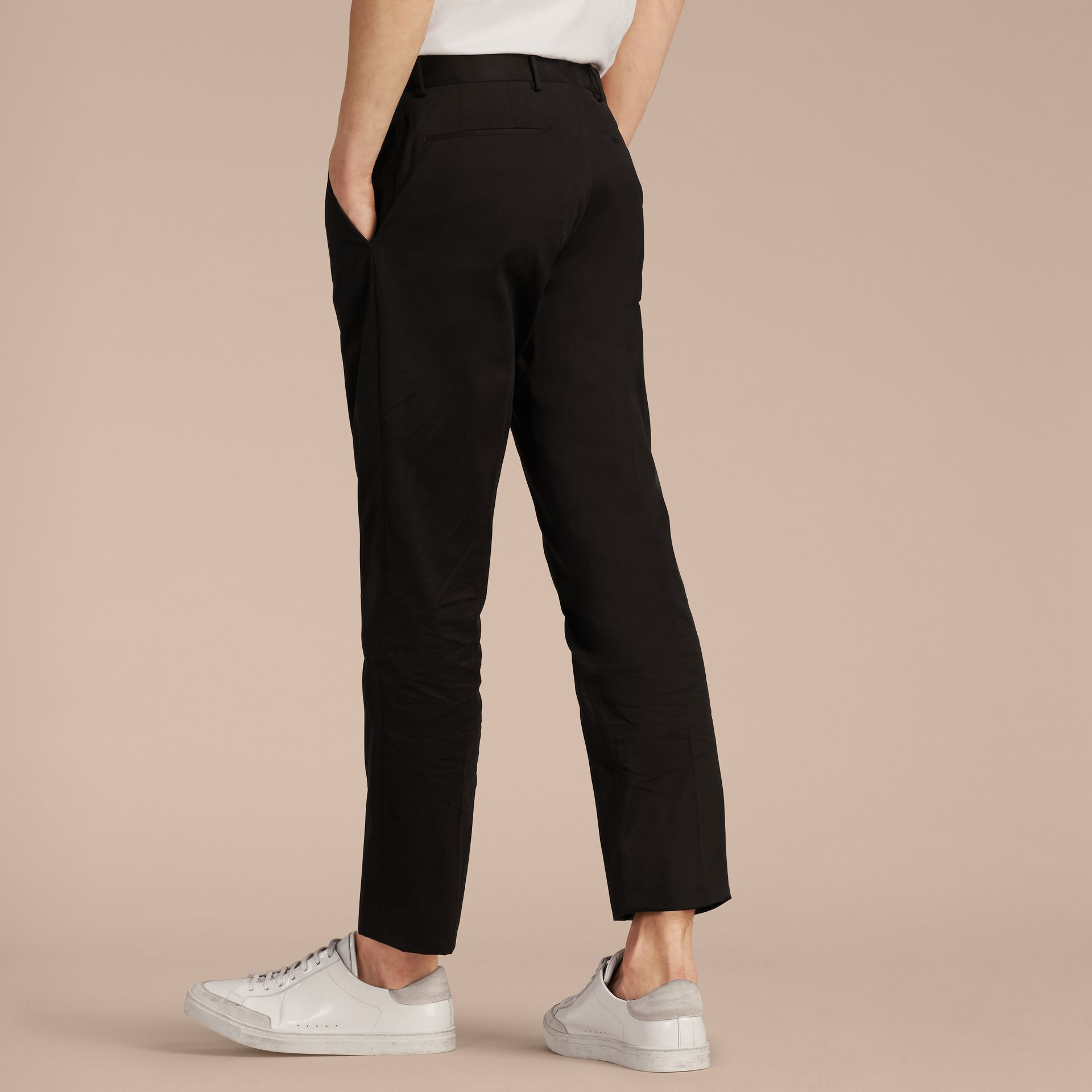 Black Slim Fit Cotton Trousers - gallery image 3