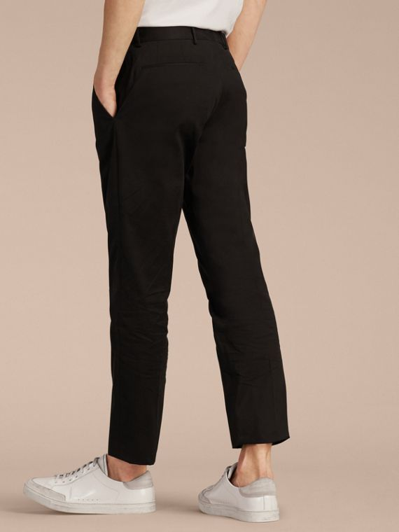 Black Slim Fit Cotton Trousers - cell image 2