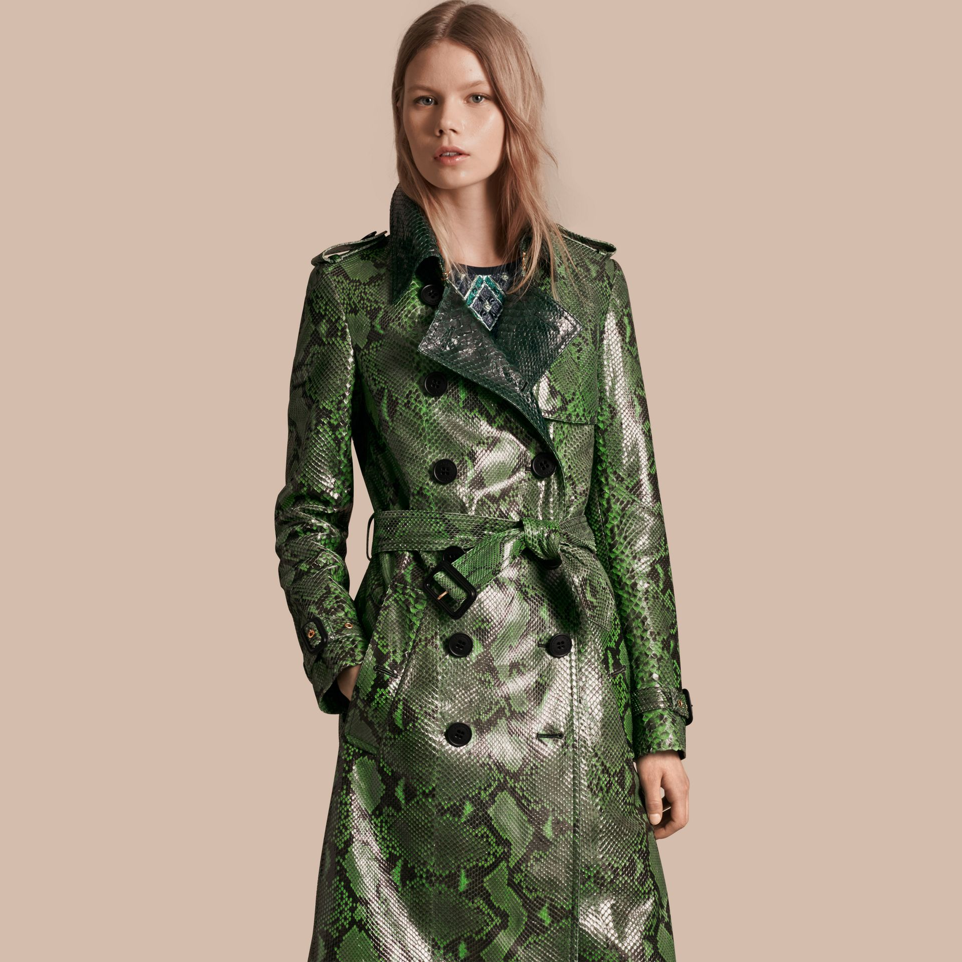 Bright green Unlined Python Trench Coat - gallery image 7