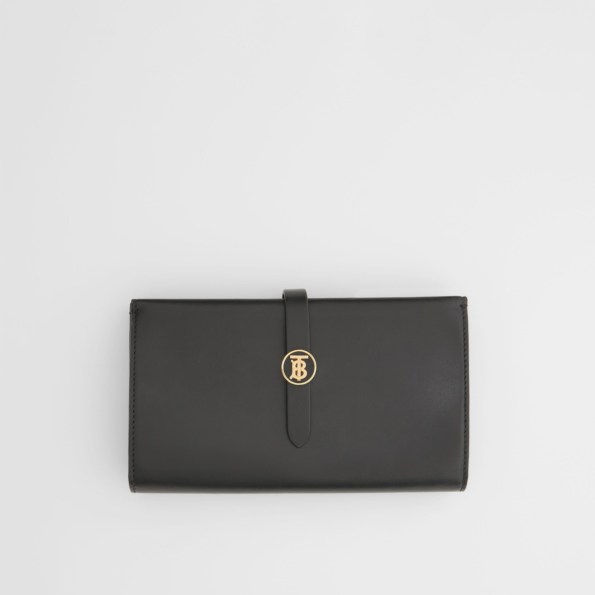 Monogram Motif Leather Folding Wallet in Black - Women | Burberry - 1