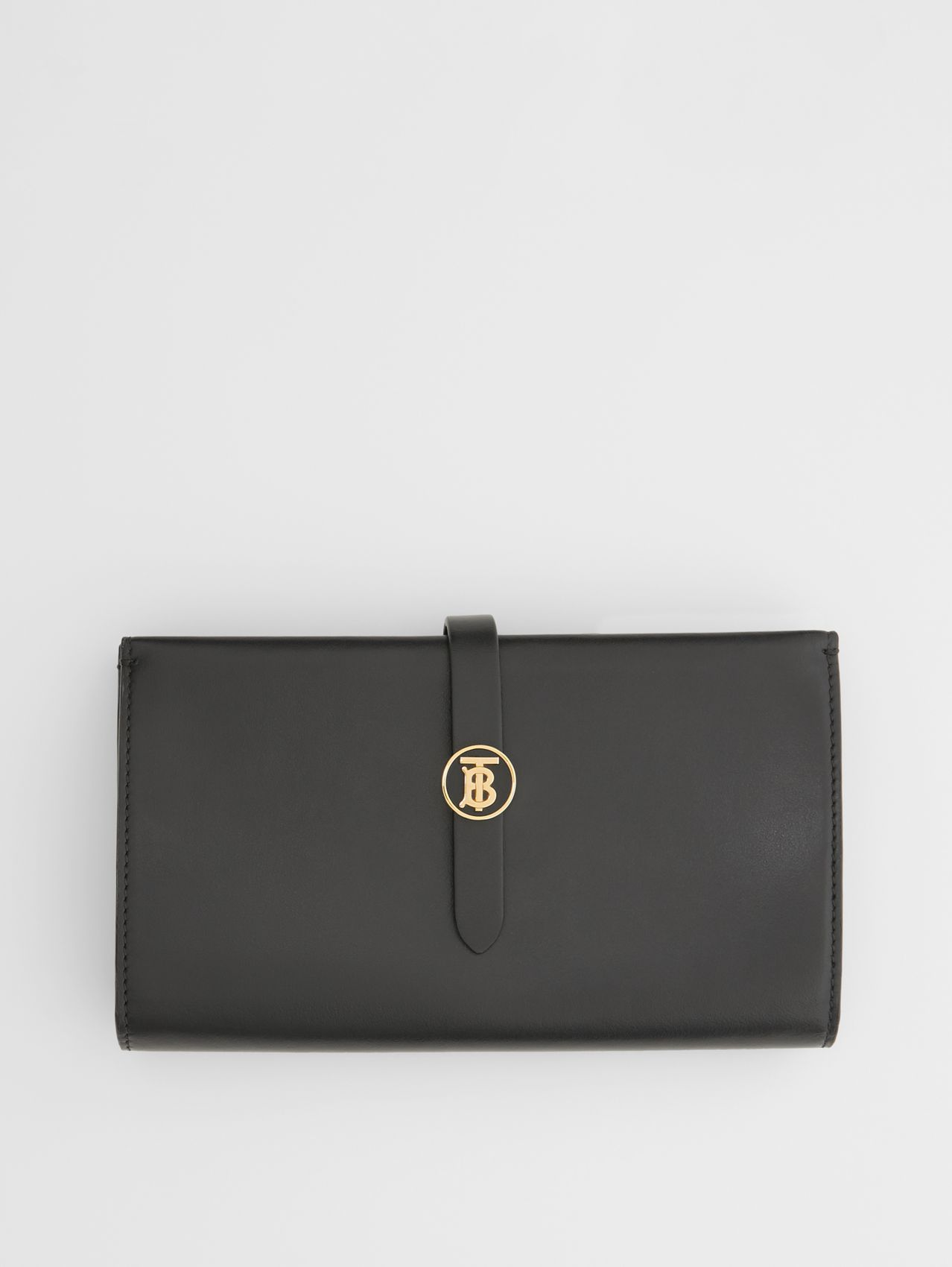 Monogram Motif Leather Folding Wallet in Black