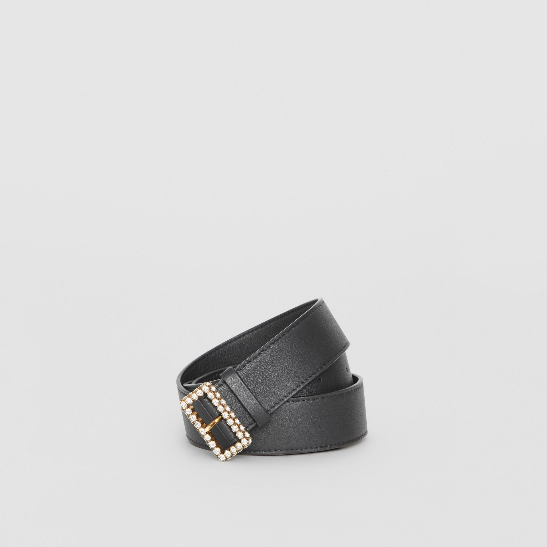 Leather Belt with Crystal Buckle in Black - Women | Burberry - gallery image 0