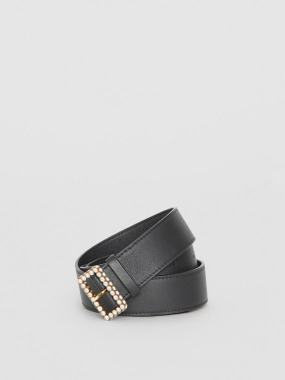 Leather Belt with Crystal Buckle in Black