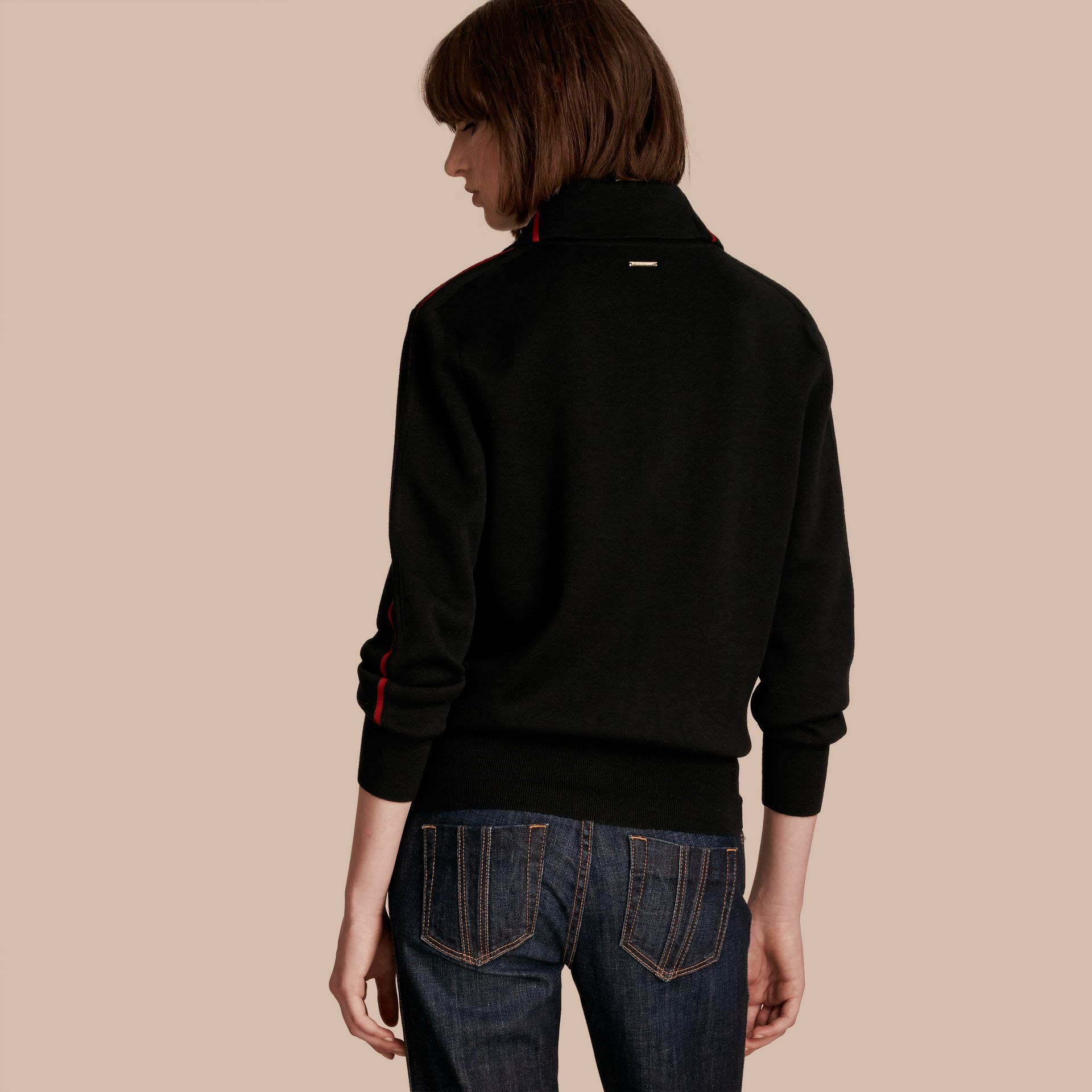 Noir Cardigan en laine stretch avec zip - photo de la galerie 3