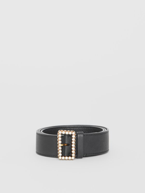 Leather Belt with Crystal Buckle in Black - Women | Burberry Australia - cell image 3