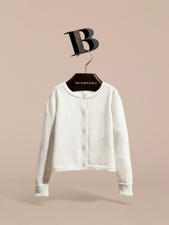 Check Cuff Cotton Knit Cardigan in White - Girl | Burberry - cell image 2