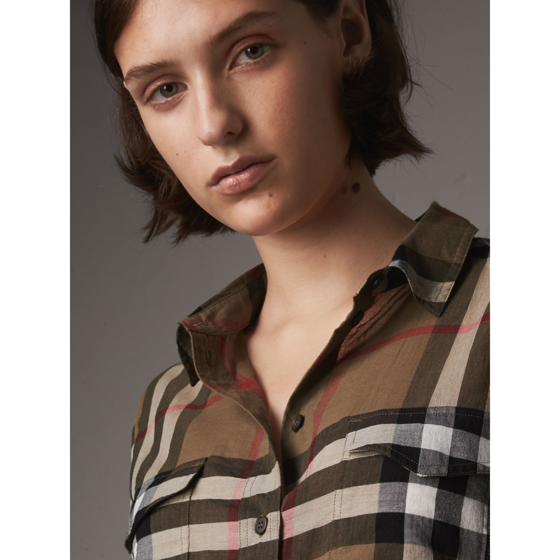 Check Cotton Shirt in Taupe Brown - Women | Burberry United Kingdom - gallery image 1