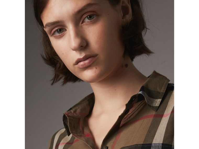 Check Cotton Shirt in Taupe Brown - Women | Burberry Canada - cell image 1