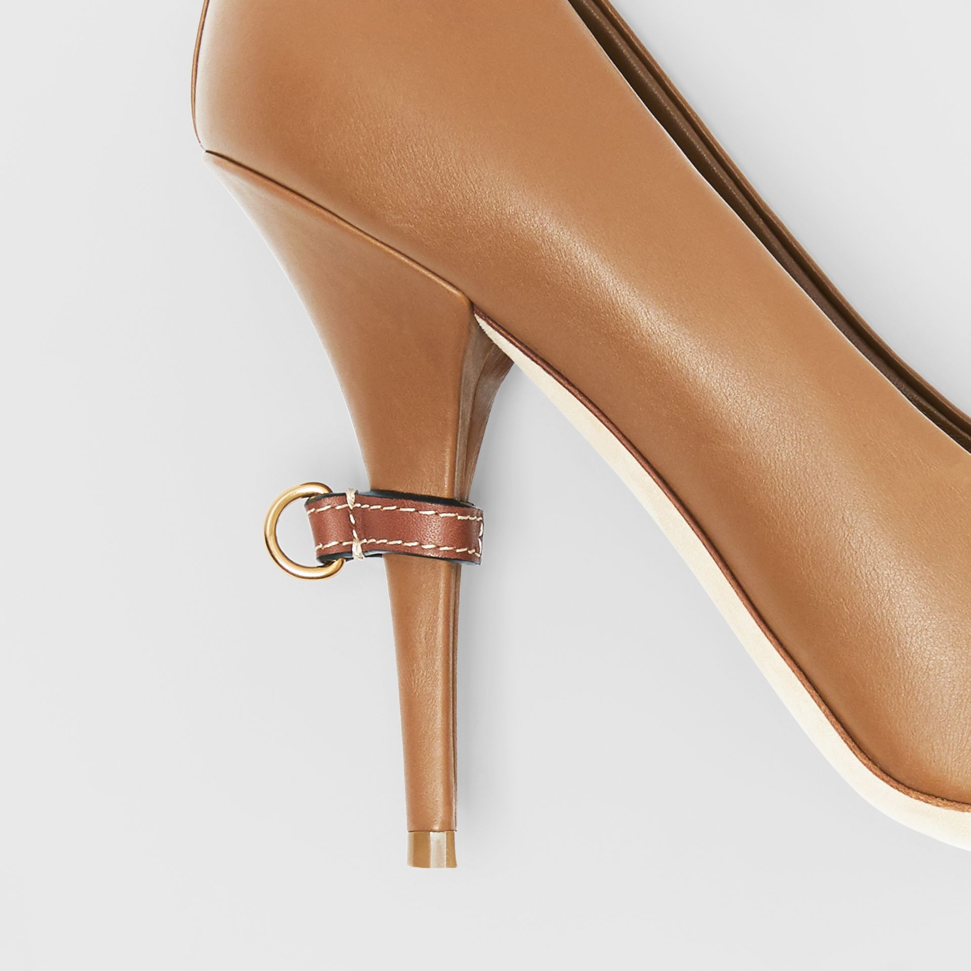 D-ring Detail Leather Peep-toe Pumps in Amber Brown - Women | Burberry - gallery image 6