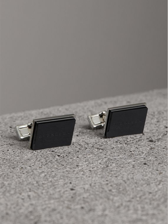 Engraved Enamel Cufflinks in Black