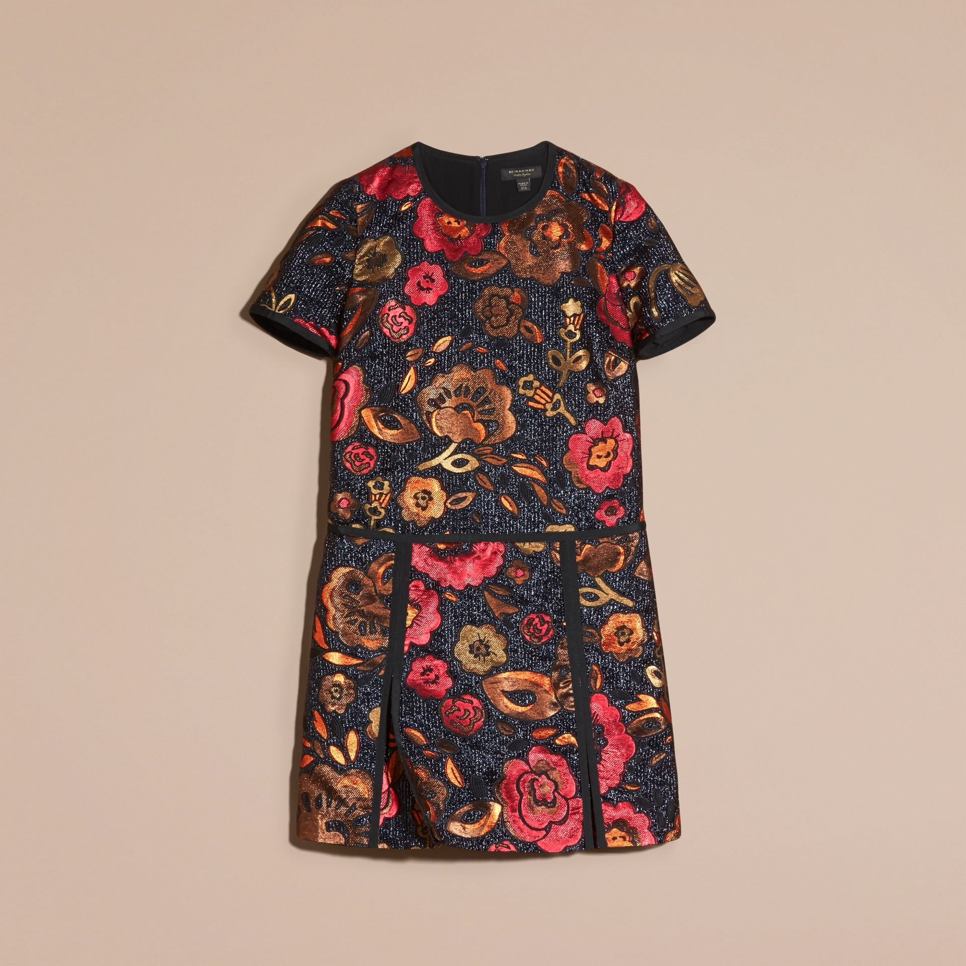 Navy Floral Jacquard T-shirt Dress - gallery image 4