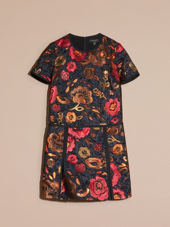 Navy Floral Jacquard T-shirt Dress - cell image 3