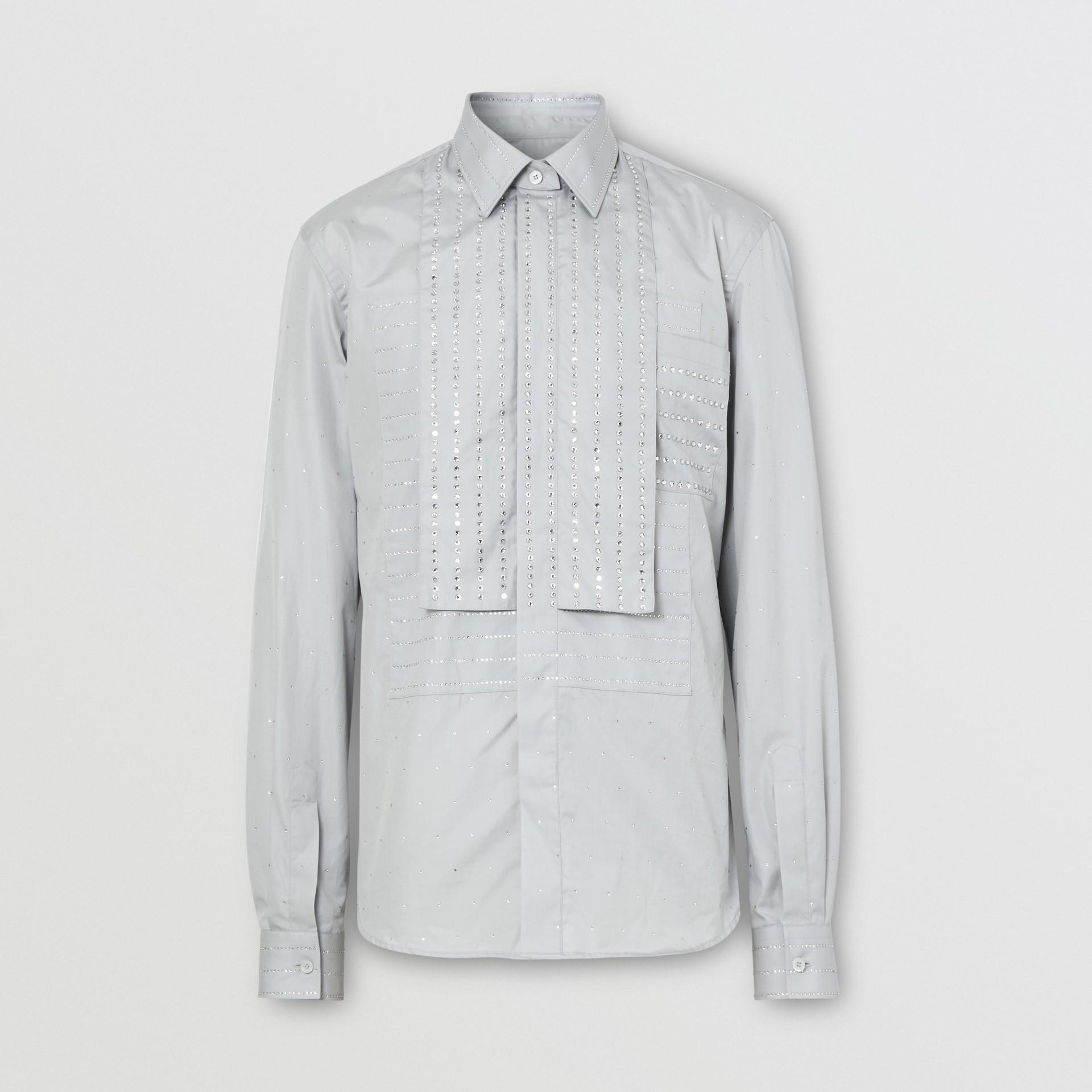 Detachable Collar Crystal Detail Cotton Poplin Shirt in Light Pebble Grey | Burberry Australia - gallery image 3