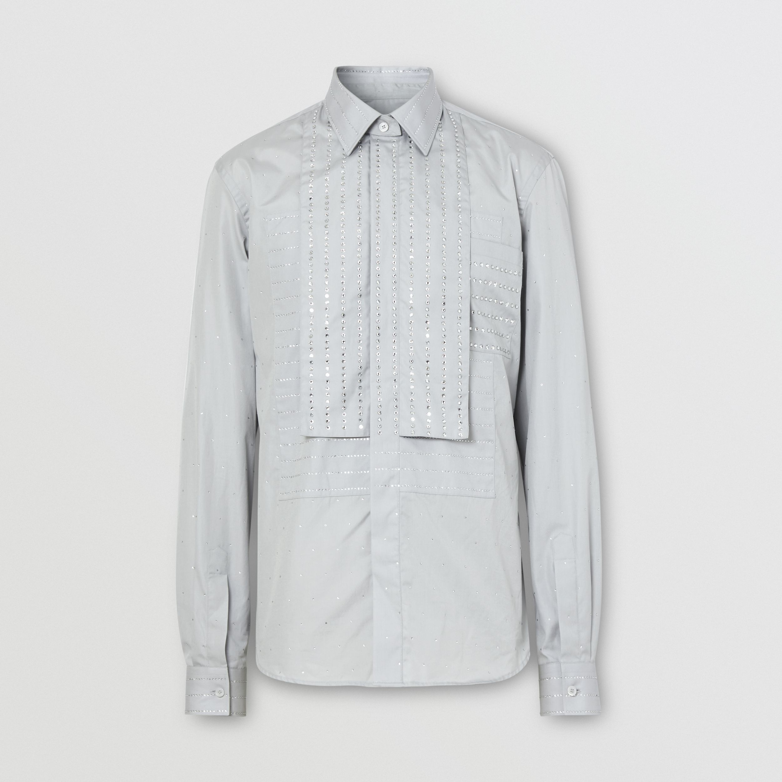 Detachable Collar Crystal Detail Cotton Poplin Shirt in Light Pebble Grey - Men | Burberry - 4