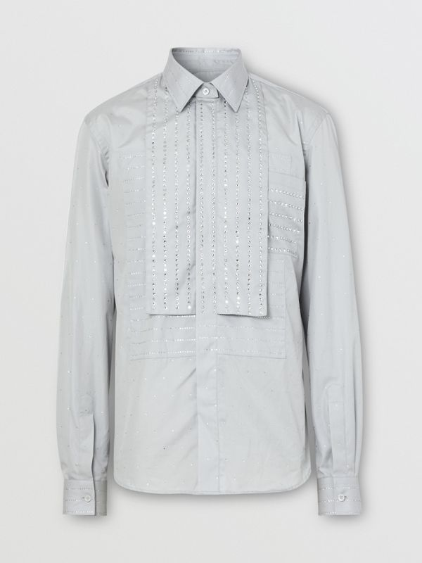 Detachable Collar Crystal Detail Cotton Poplin Shirt in Light Pebble Grey | Burberry United States - cell image 3