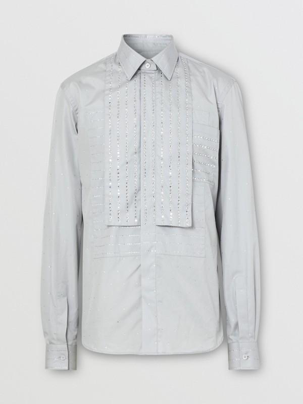 Detachable Collar Crystal Detail Cotton Poplin Shirt in Light Pebble Grey | Burberry Australia - cell image 3
