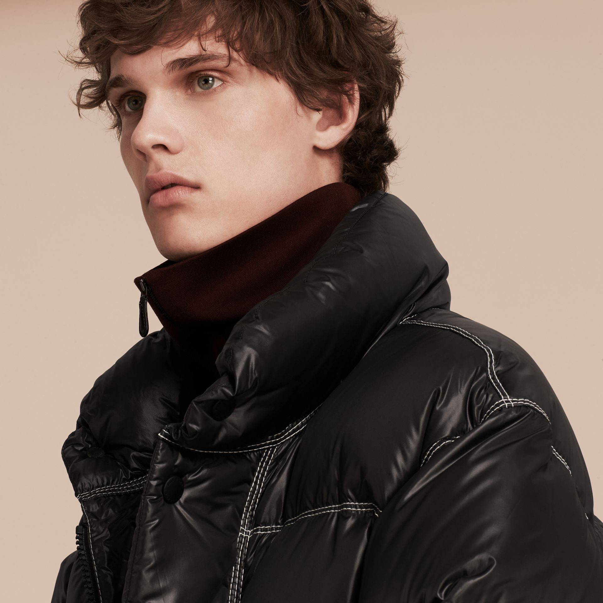 Black Down-filled Puffer Coat - gallery image 5