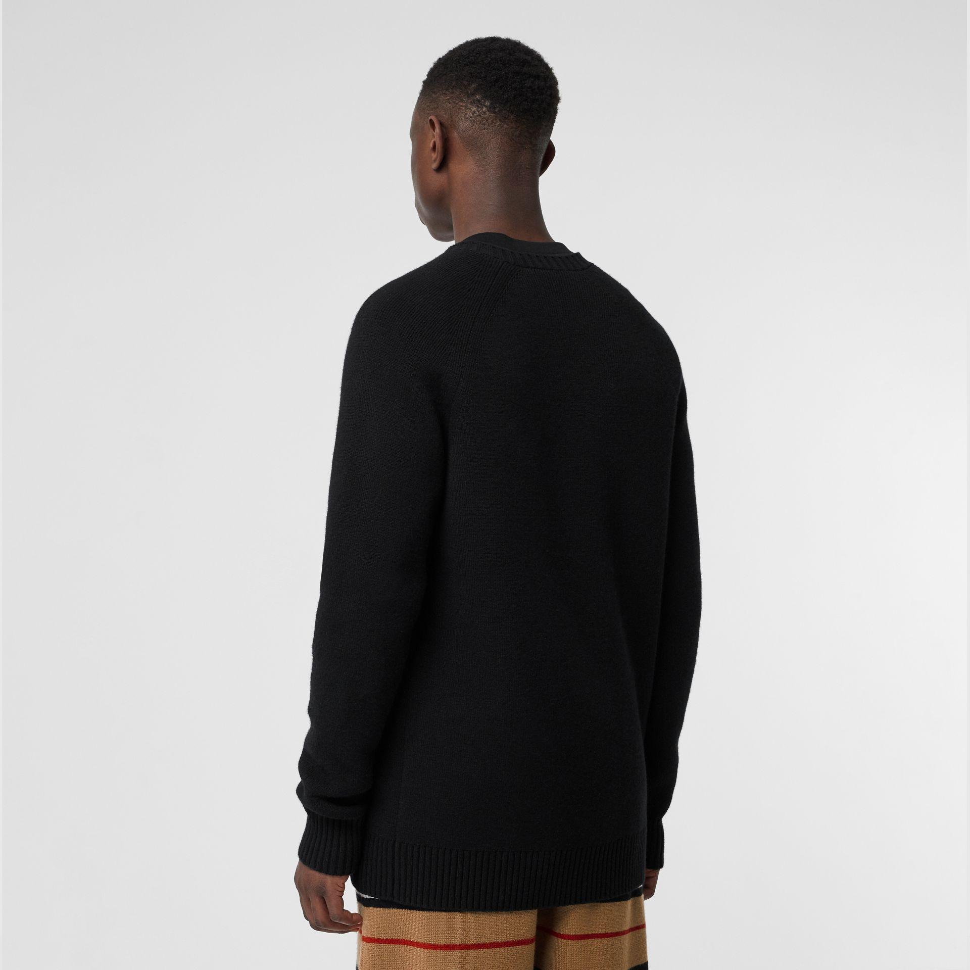 Cashmere Crew Neck Cardigan in Black | Burberry Singapore - gallery image 2