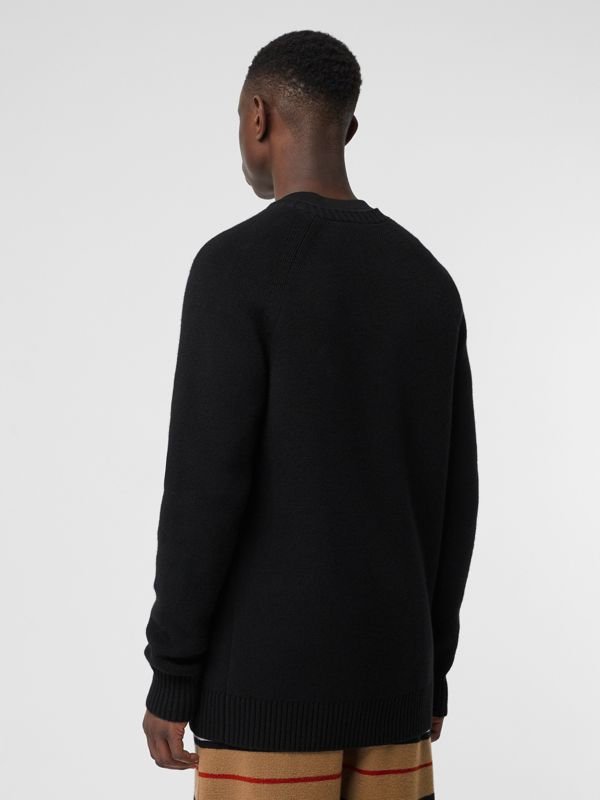 Cashmere Crew Neck Cardigan in Black | Burberry Singapore - cell image 2