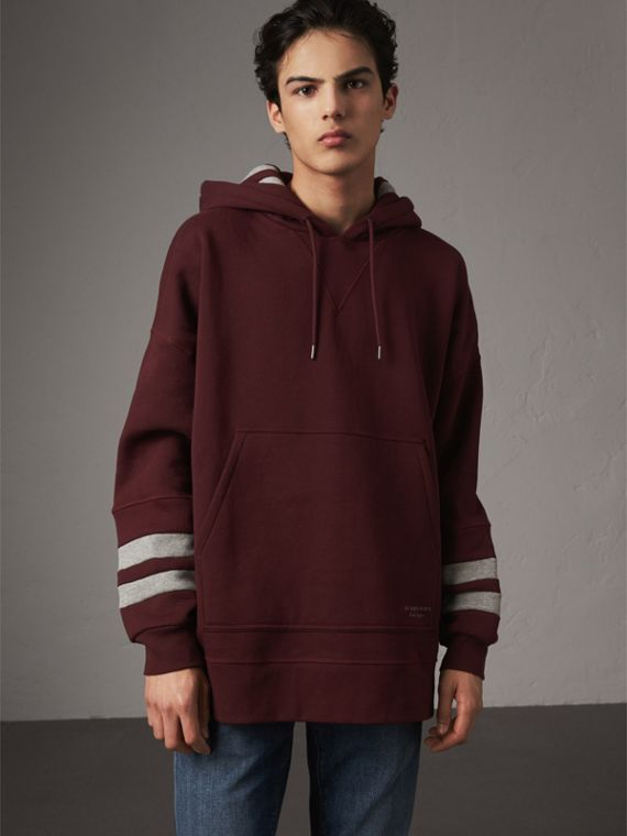 Bold Stripe Detail Oversize Hooded Sweatshirt in Deep Claret